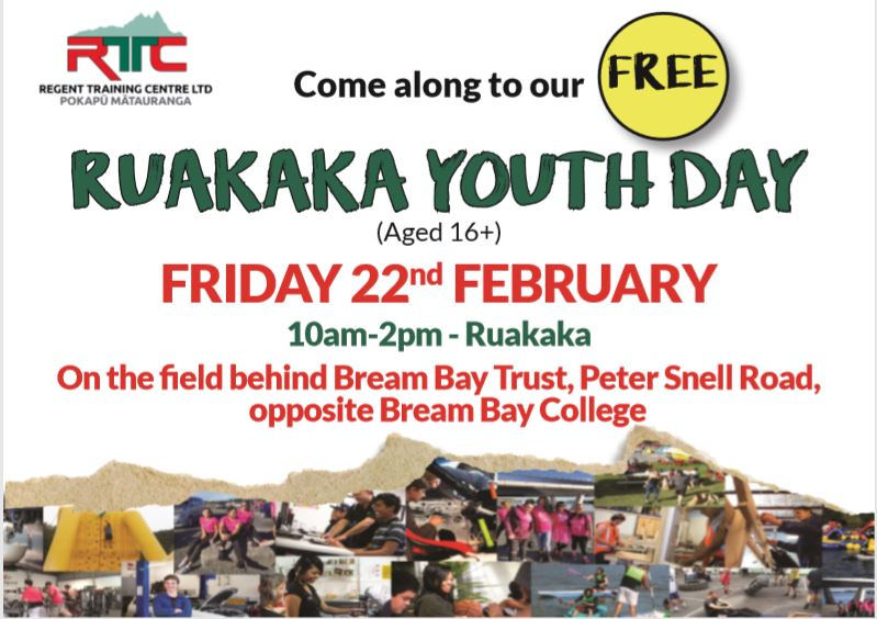 22 February Ruakaka FREE Youth Day Out!